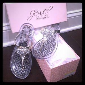 Badgley Mischka flat jelly embellished sandals